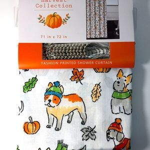 COPY - Dogs w hat & Scarf Fall Fabric Shower Curtain set
